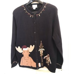 Holiday Moose Sweater, C&B XL Misses, Navy Embroid